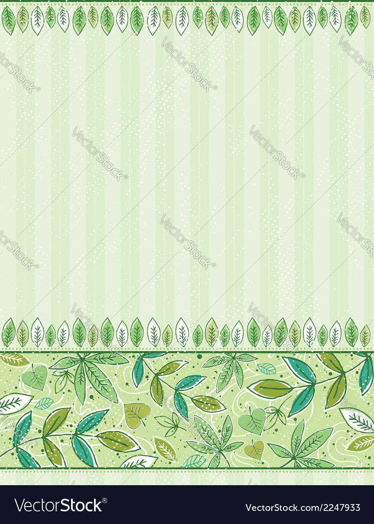 Hand draw leafs on grunge green background vector | Price: 1 Credit (USD $1)