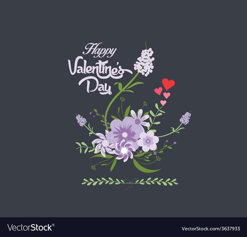 Happy valentines day with flower purple romantic vector   Price: 1 Credit (USD $1)