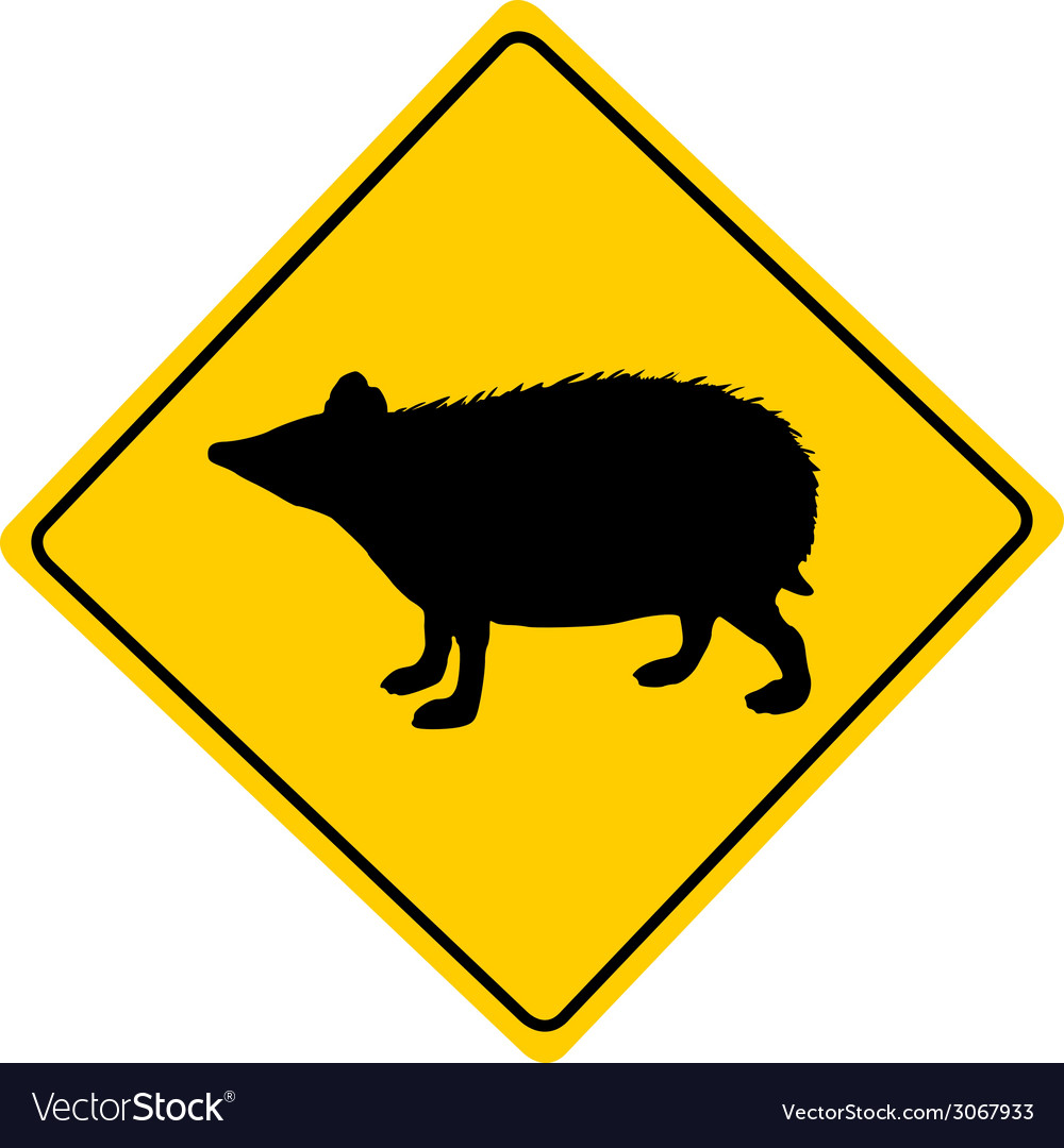 Hedgehog warning sign vector | Price: 1 Credit (USD $1)