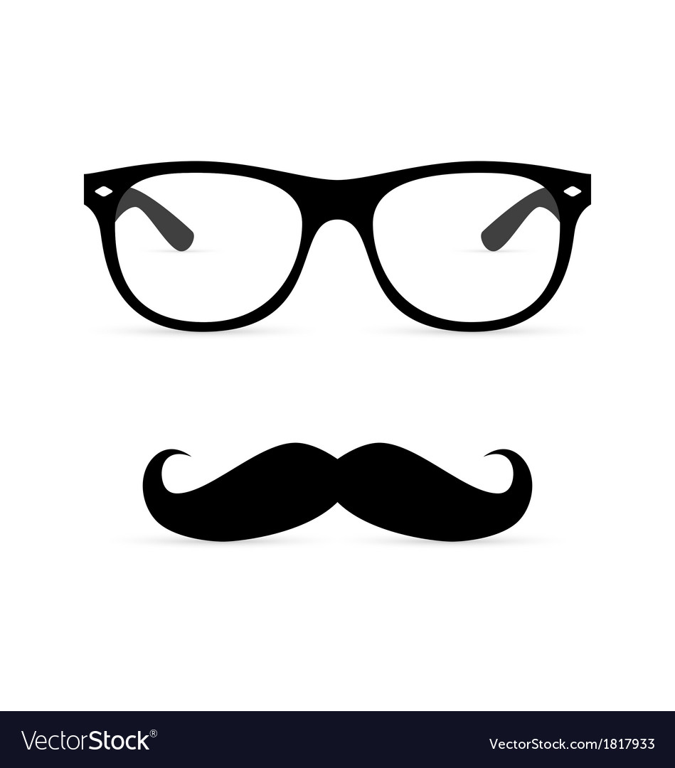 Hipster glasses with mustache vector | Price: 1 Credit (USD $1)