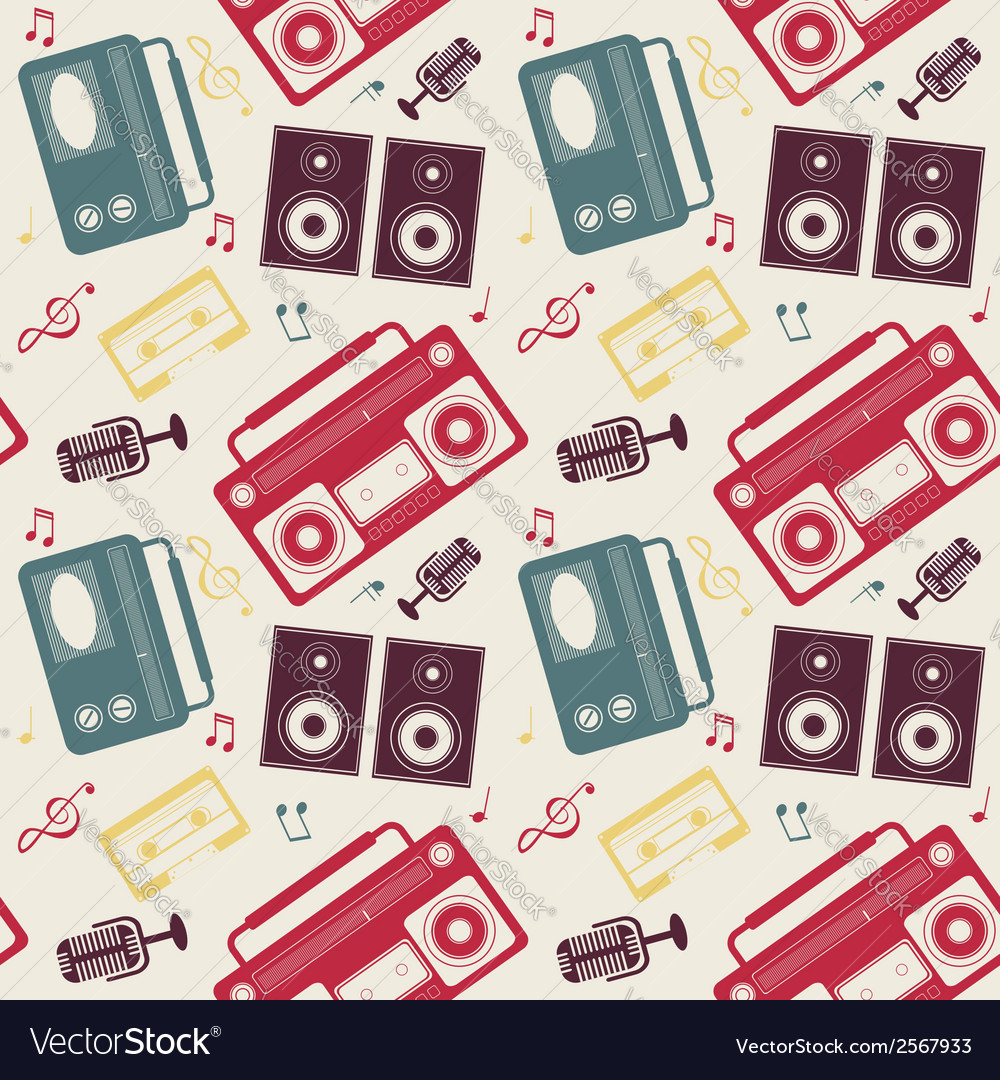 Retro gadgets monochrome pattern vector | Price: 1 Credit (USD $1)