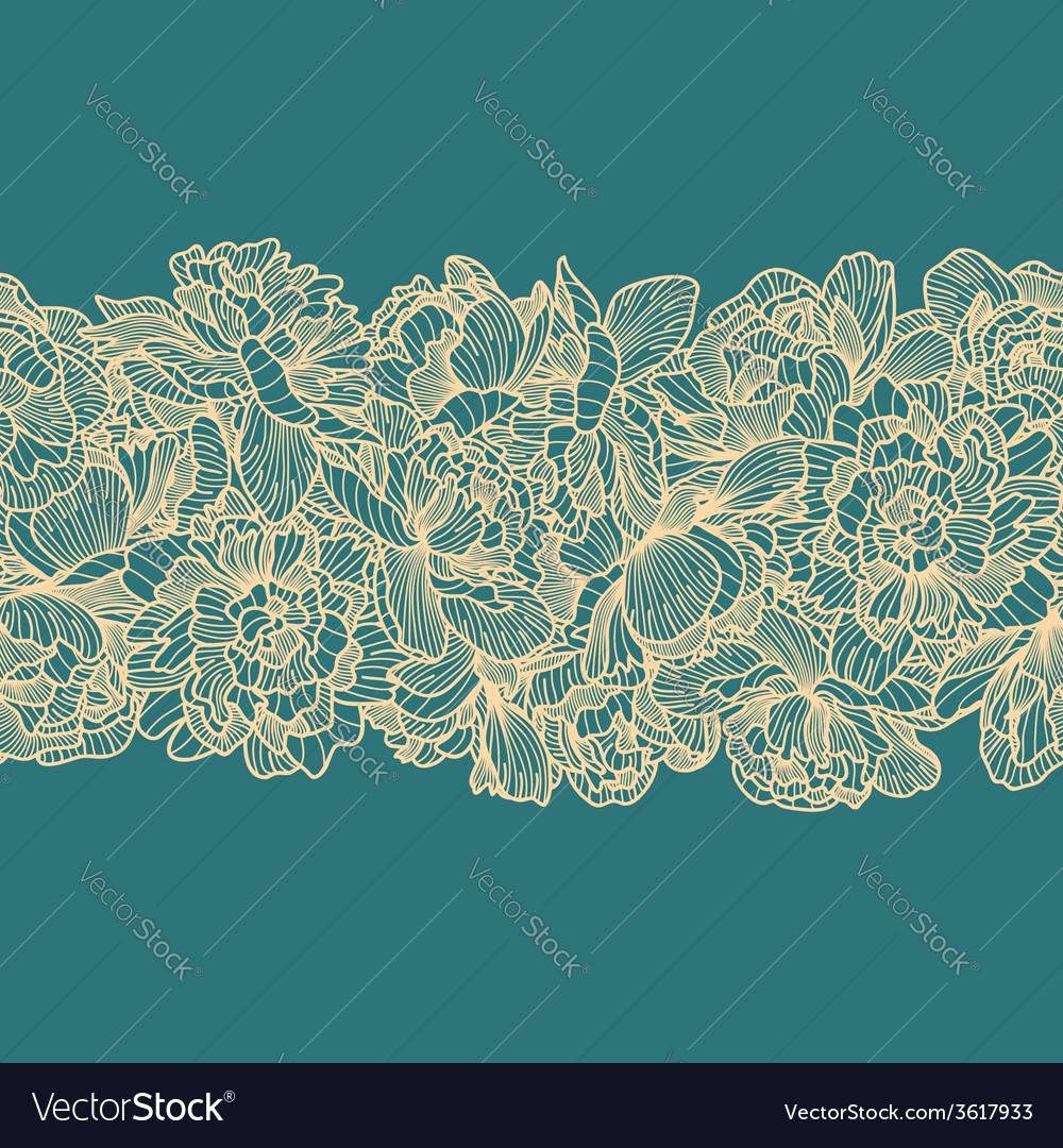 Seamless peony flowers border vector | Price: 1 Credit (USD $1)