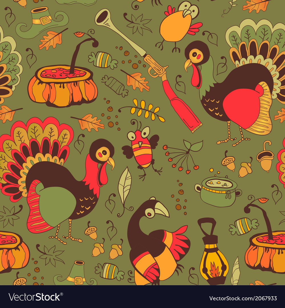 Seamless with turkey for thanksgiving vector | Price: 1 Credit (USD $1)