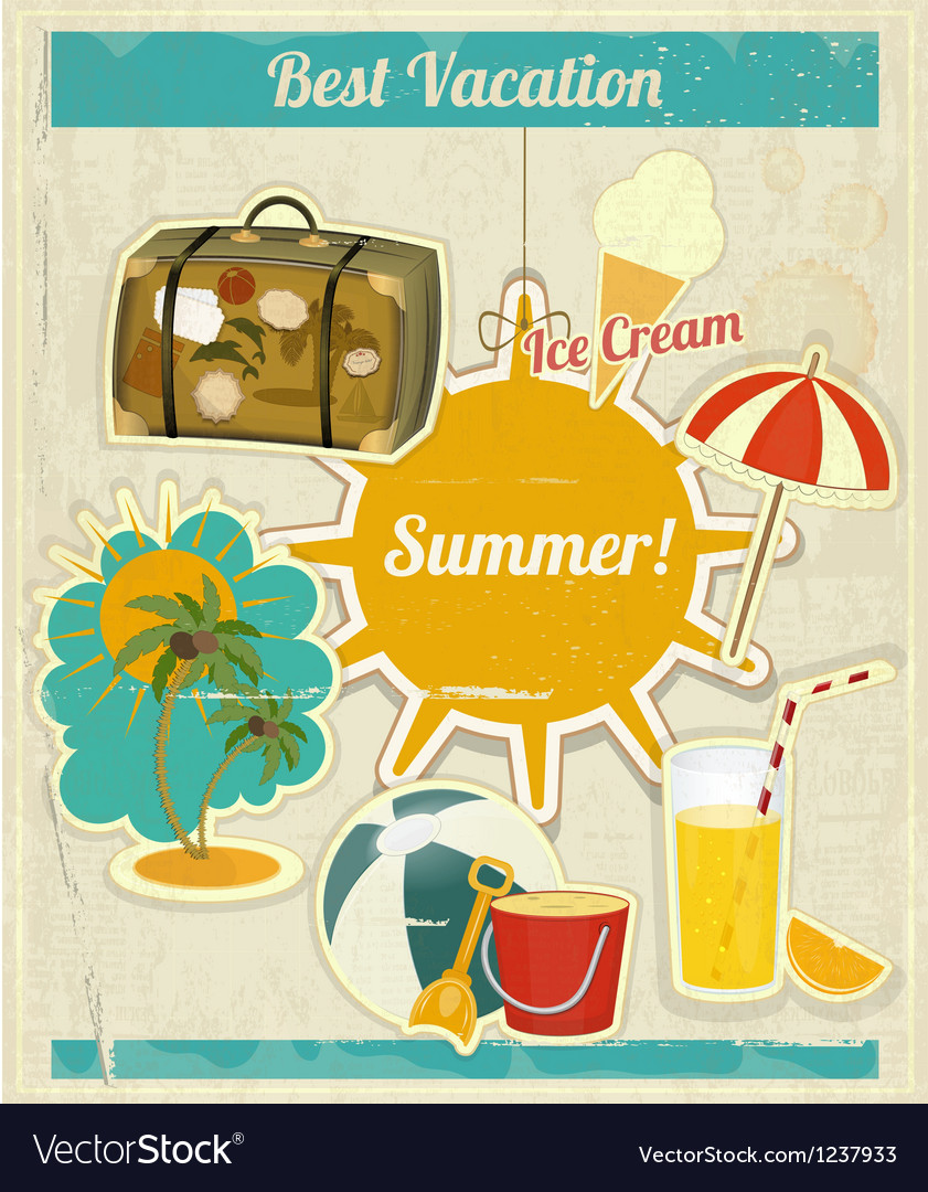 Summer vacation card in vintage retro style vector | Price: 3 Credit (USD $3)