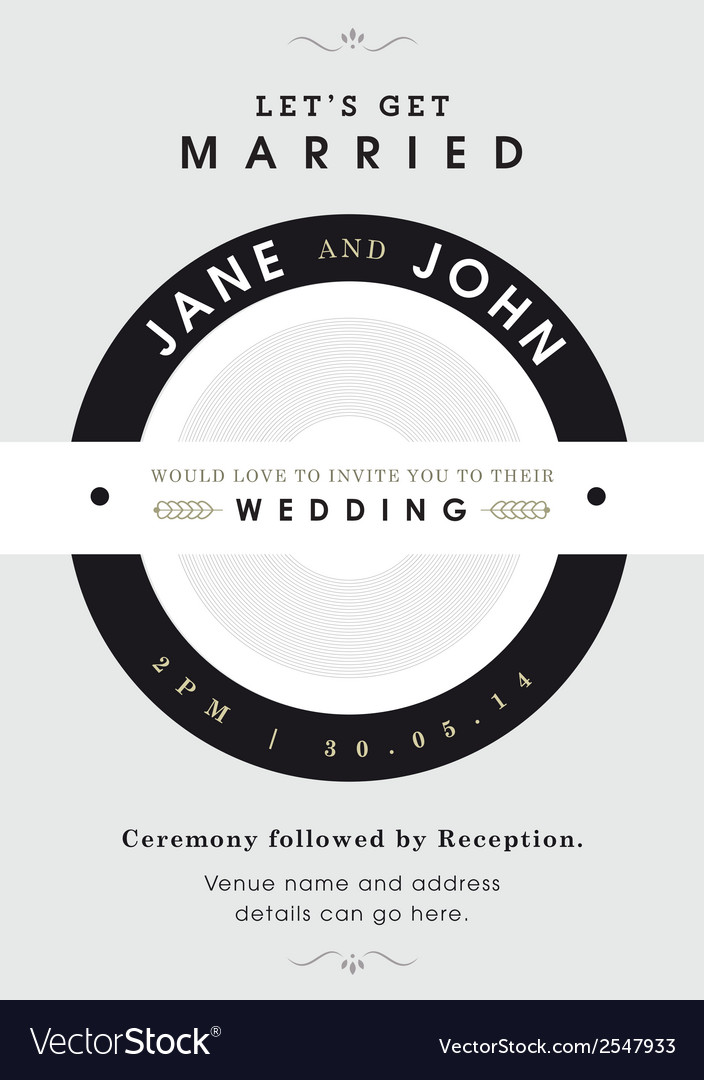 Wedding invitation black and grey theme vector | Price: 1 Credit (USD $1)