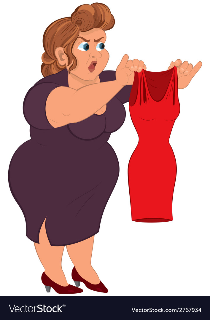 Cartoon fat woman in purple dress holding small vector | Price: 1 Credit (USD $1)