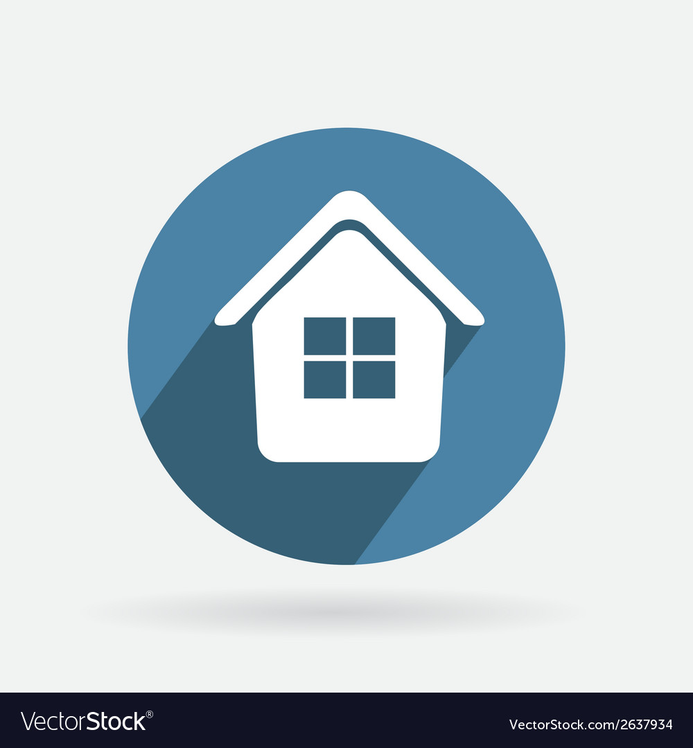 Circle blue icon with shadow home vector | Price: 1 Credit (USD $1)