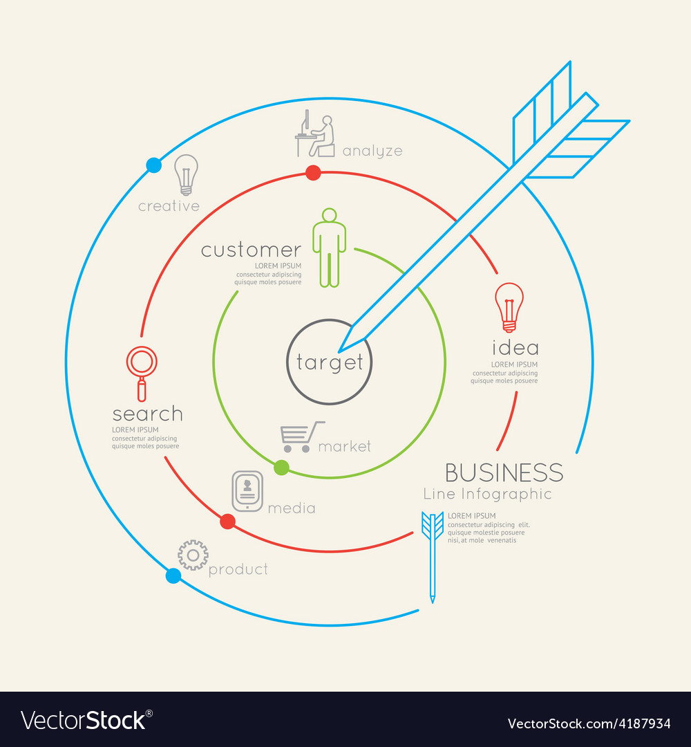 Flat linear infographic business target outline vector | Price: 1 Credit (USD $1)