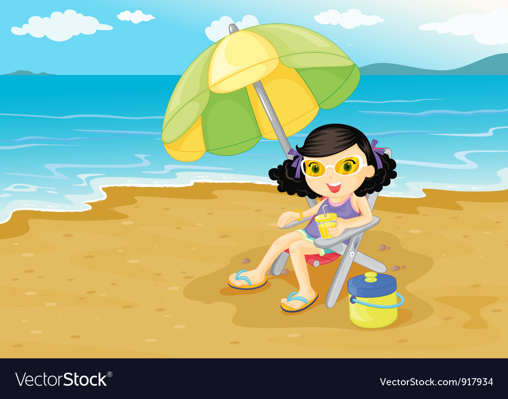 Girl at the beach vector | Price: 3 Credit (USD $3)