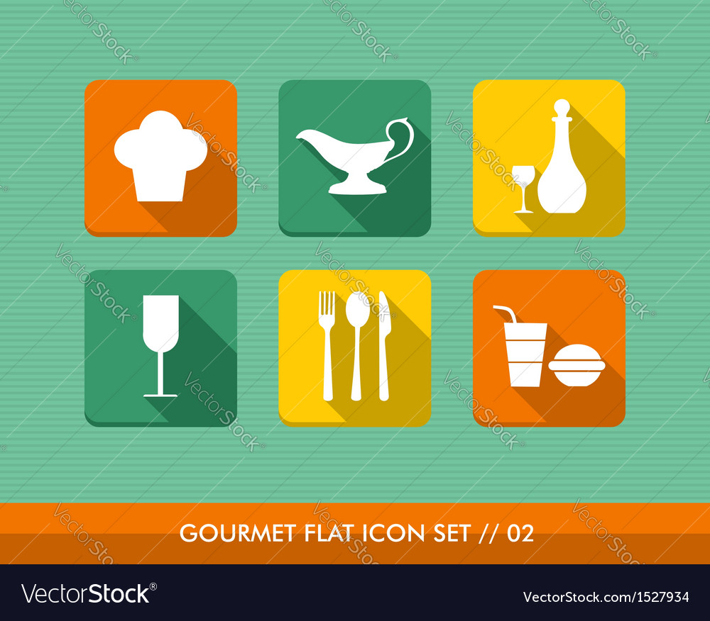 Gourmet flat icons set vector | Price: 1 Credit (USD $1)