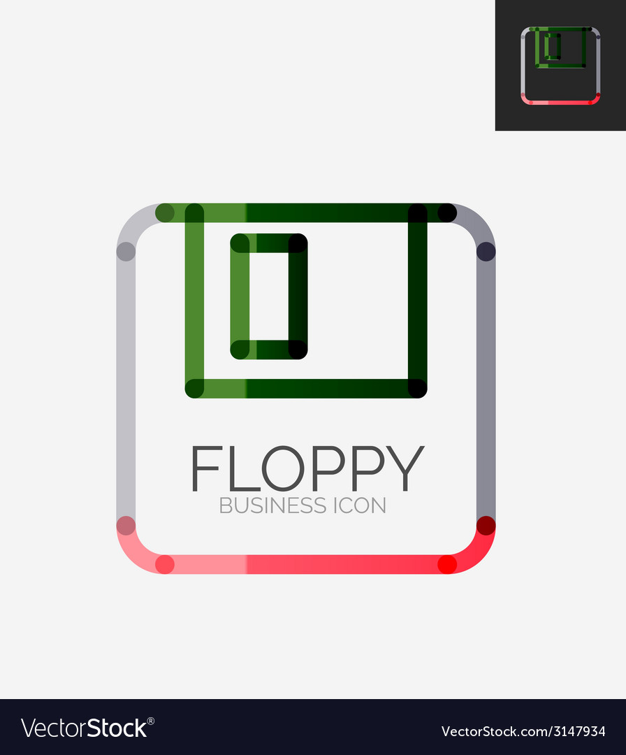 Minimal line design logo floppy icon vector | Price: 1 Credit (USD $1)