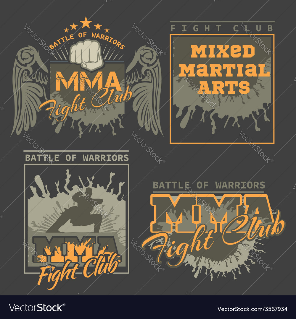 Mma labels - mixed martial arts design vector | Price: 1 Credit (USD $1)
