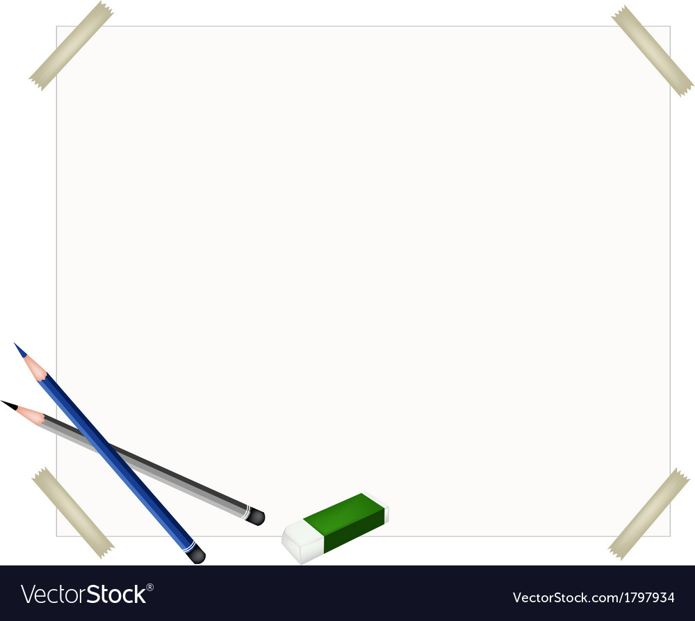 Sharpened pencils and eraser on blank paper vector | Price: 1 Credit (USD $1)