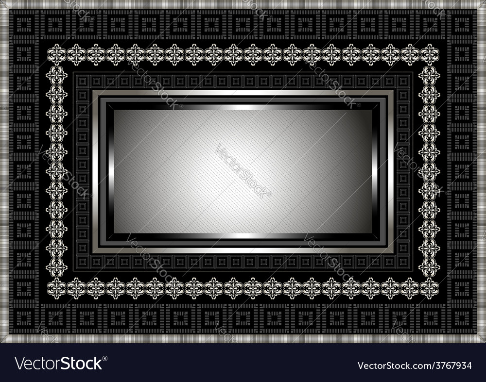 Silver frame with geometric ornament on black vector | Price: 1 Credit (USD $1)