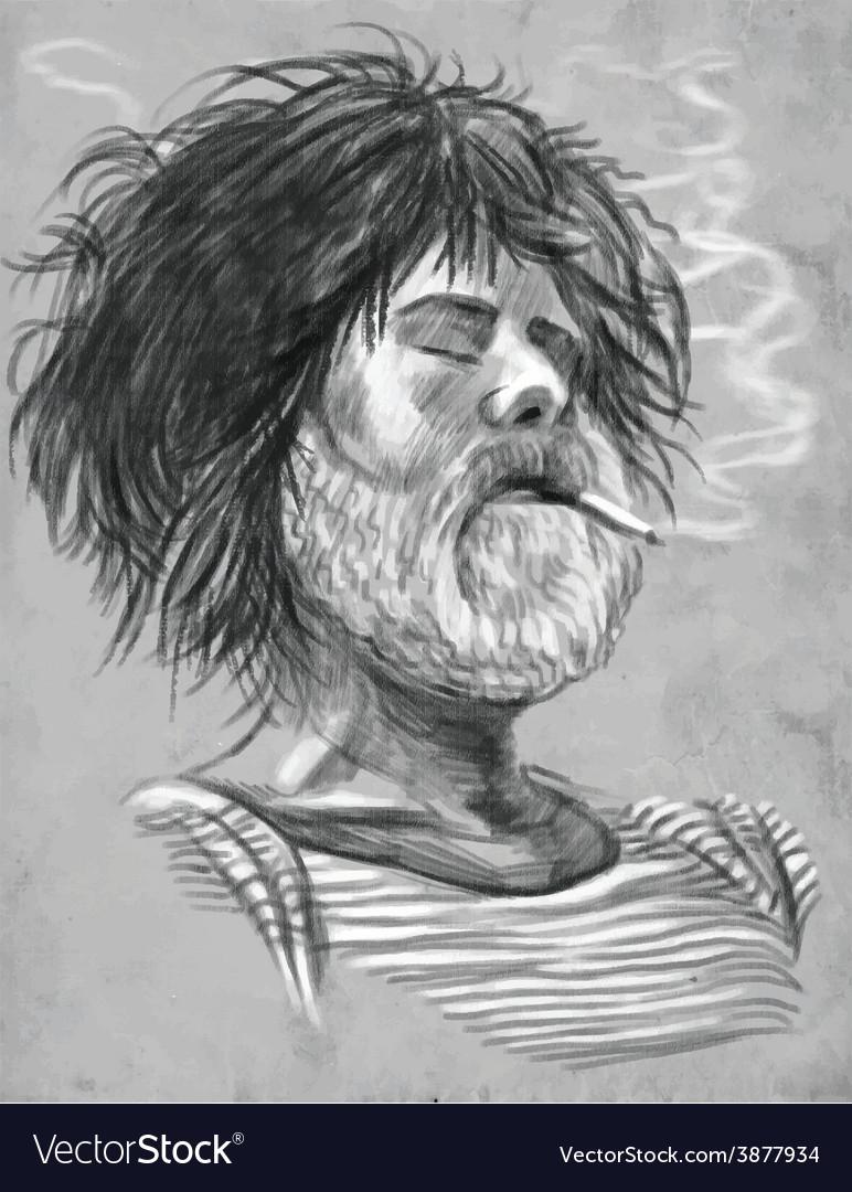 Smoking bearded smoker sailor - hand drawn vector | Price: 1 Credit (USD $1)