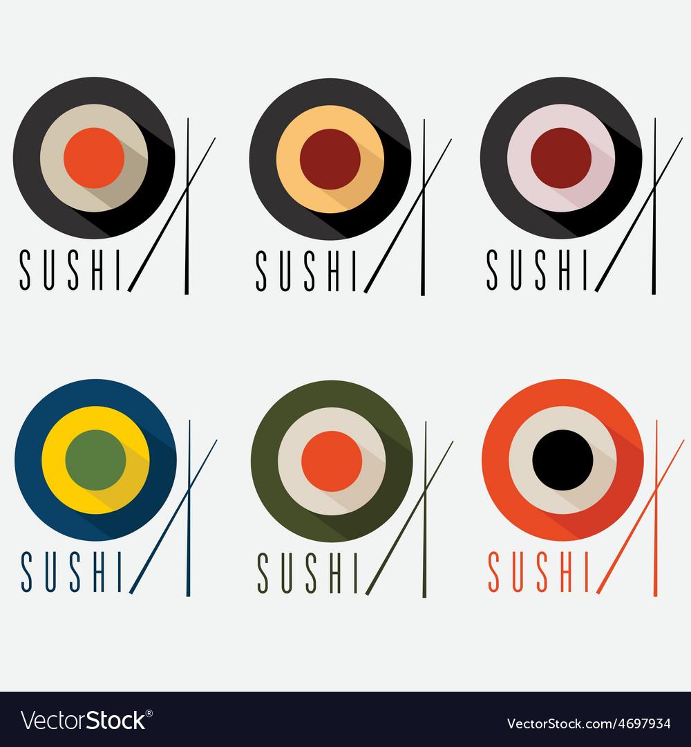 Sushi flat design set vector | Price: 1 Credit (USD $1)