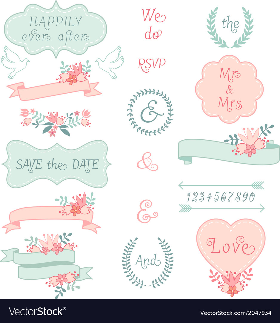 Vintage wedding frames and ribbons set vector | Price: 1 Credit (USD $1)