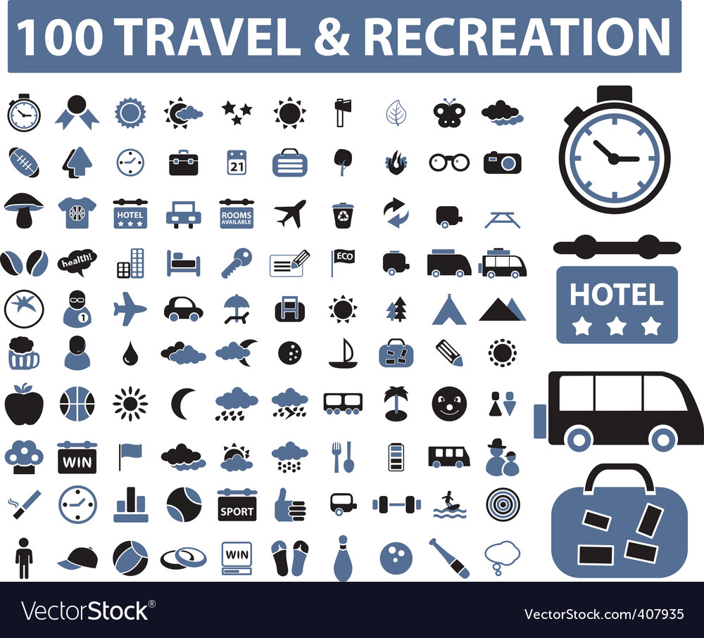 100 travel  recreation signs vector | Price: 1 Credit (USD $1)