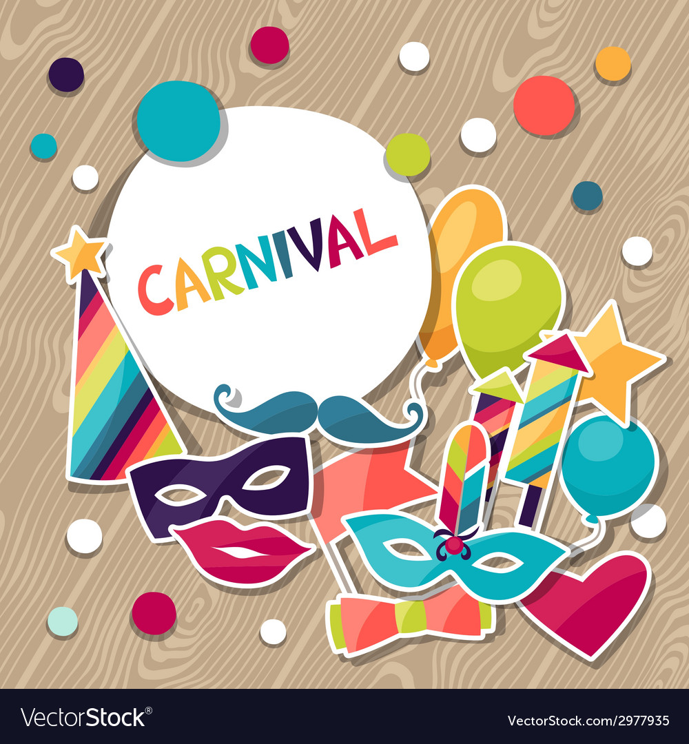 Celebration background with carnival stickers and vector | Price: 1 Credit (USD $1)