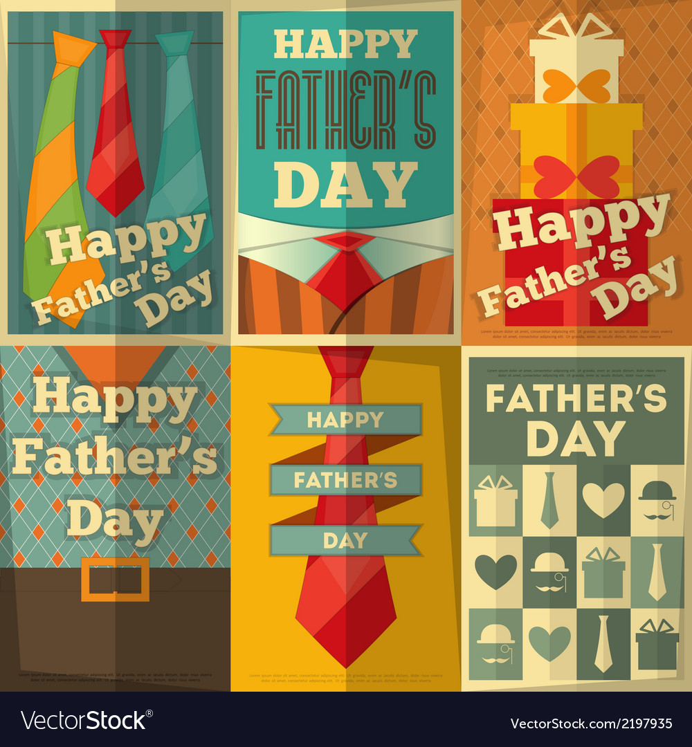 Fathers day poster set vector