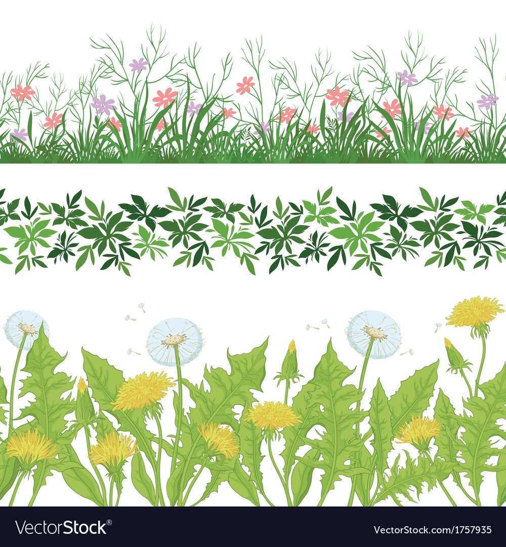 Flowers grass and leaves seamless set vector | Price: 1 Credit (USD $1)