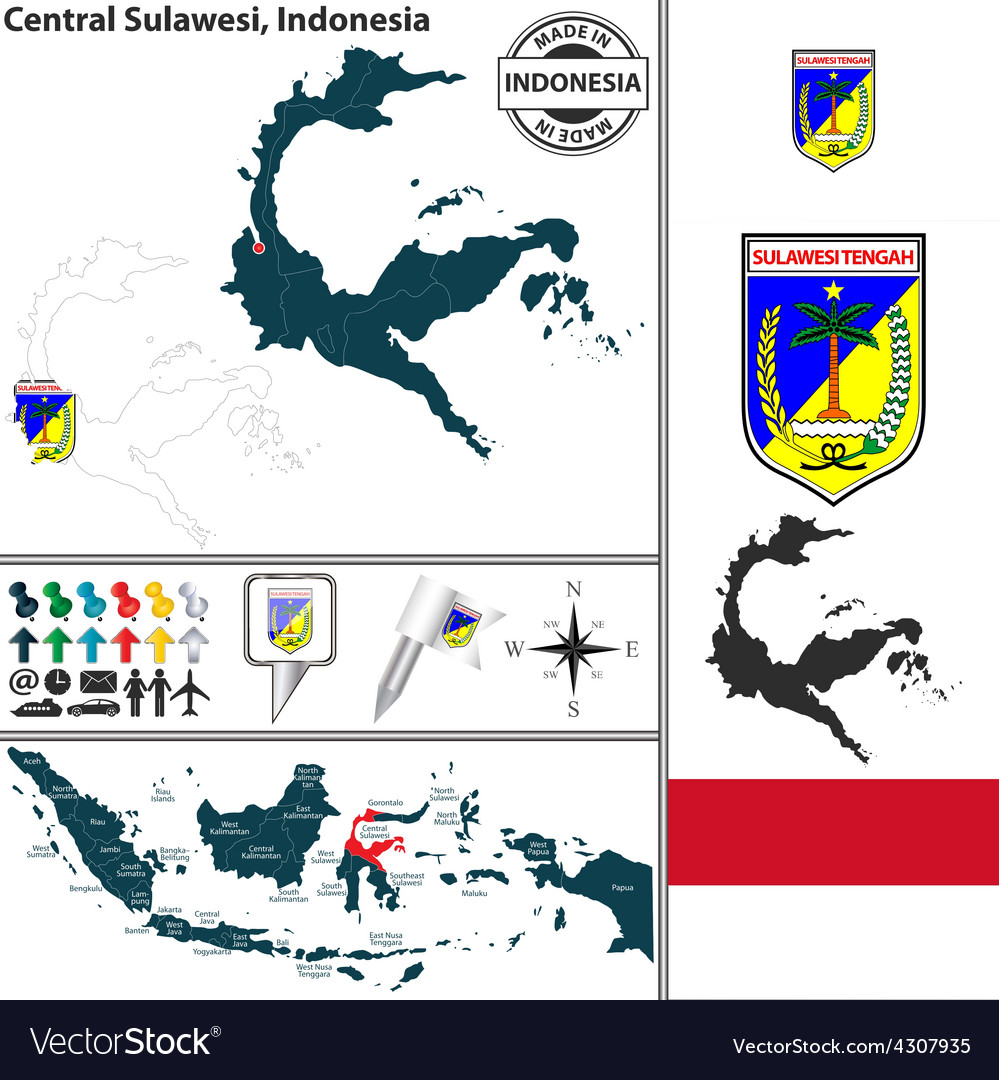 Map of central sulawesi vector | Price: 1 Credit (USD $1)