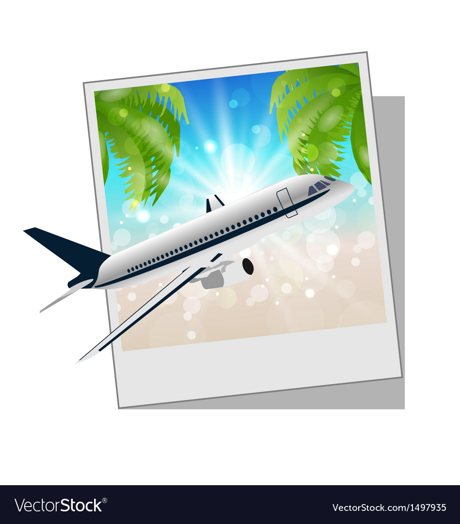 Photo frame with seaside and plane vector | Price: 1 Credit (USD $1)