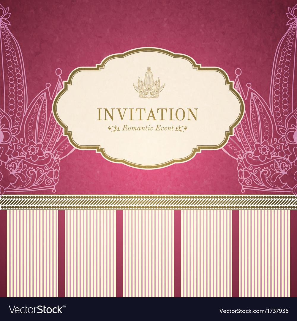 Retro princess invitation template vector | Price: 1 Credit (USD $1)