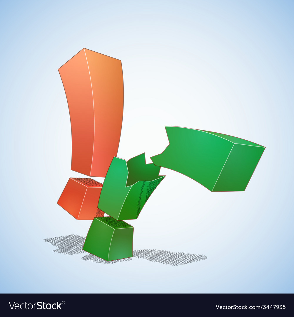 Two exclamation points vector   Price: 1 Credit (USD $1)