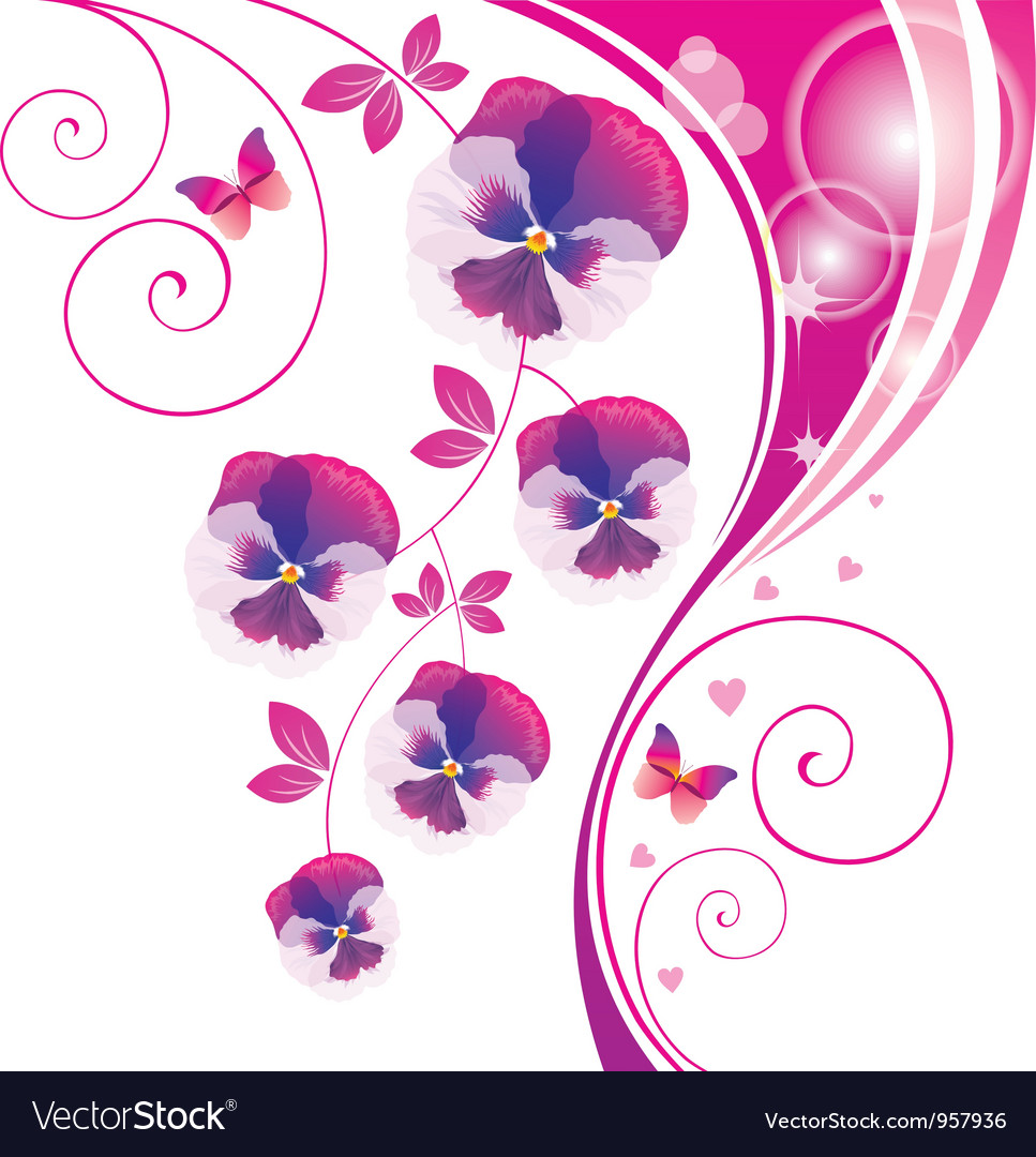 Abstract background with pink viola and butterfly vector | Price: 1 Credit (USD $1)