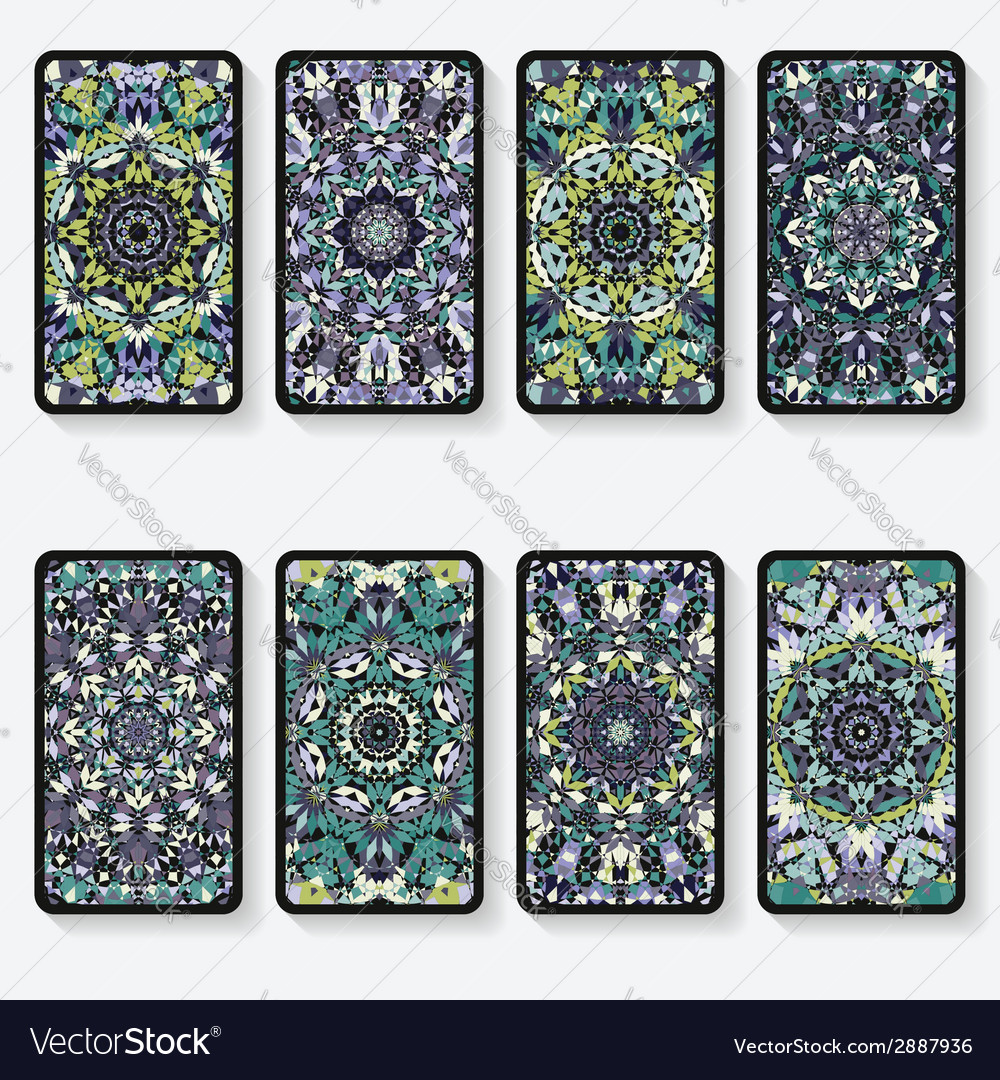 Business cards collection with kaleidoscope vector   Price: 1 Credit (USD $1)