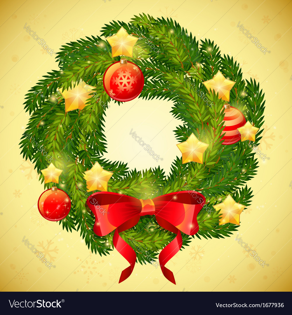 Christmas festive decorative wreath vector | Price: 1 Credit (USD $1)