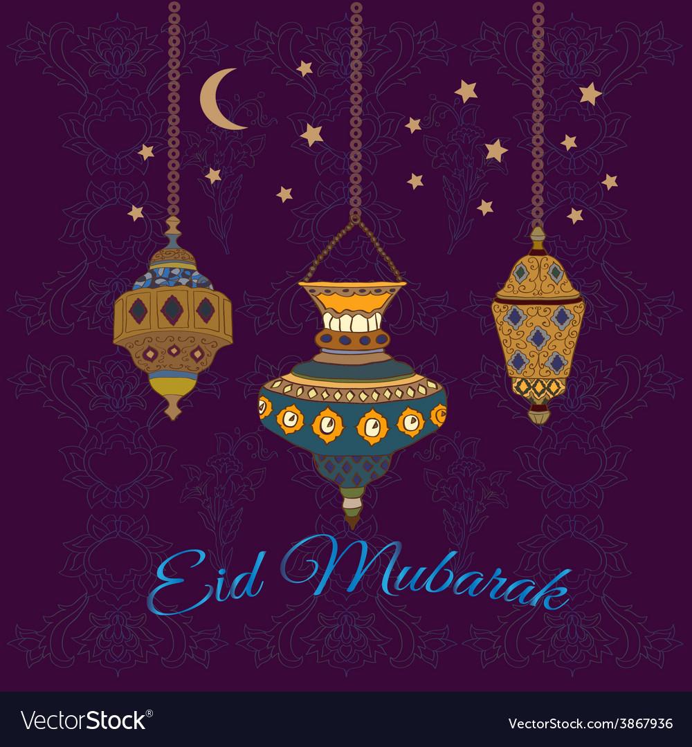 Eid mubarak greetings with lamps vector | Price: 1 Credit (USD $1)