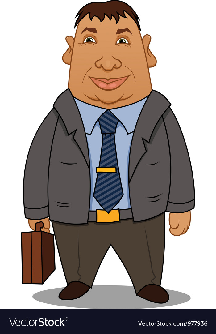 Fat businessman with a case vector | Price: 3 Credit (USD $3)