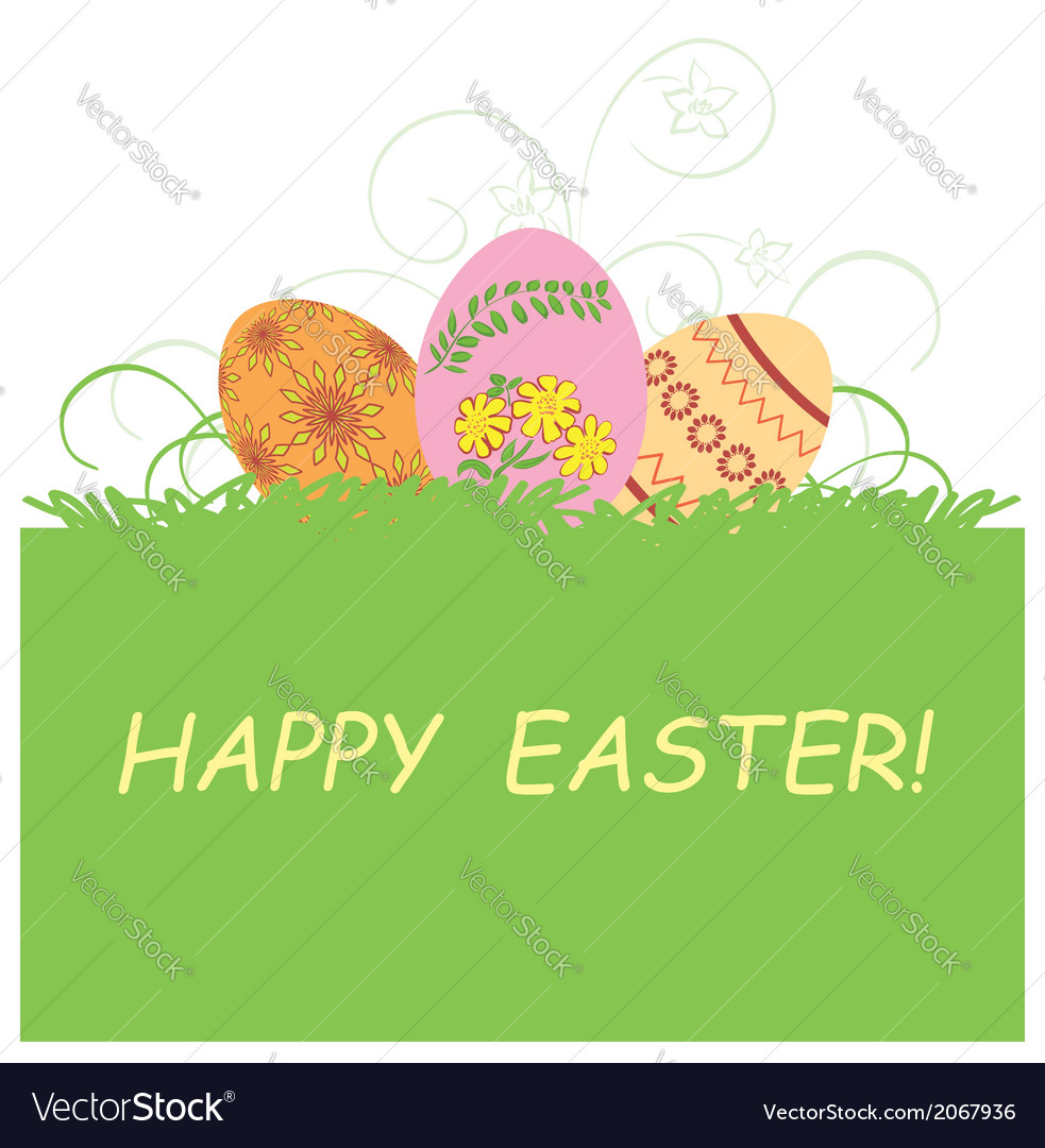 Green background with easter eggs - happy easter vector | Price: 1 Credit (USD $1)