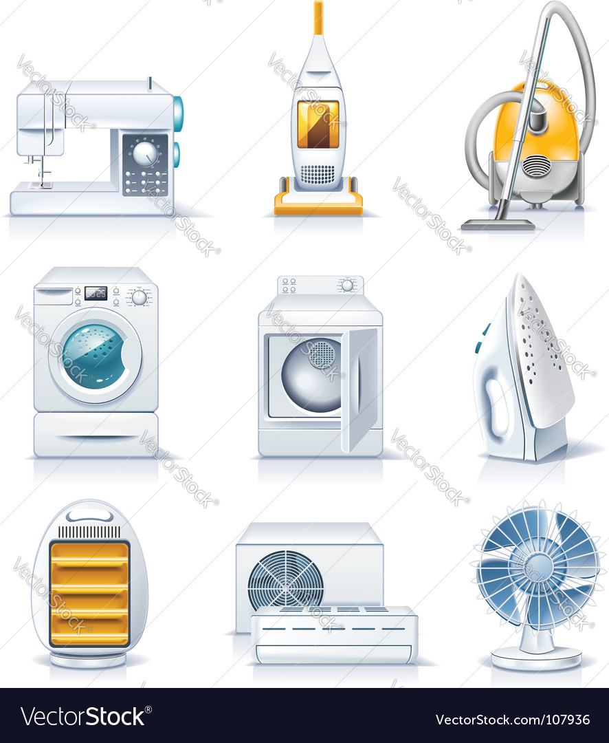 Household appliances icons vector | Price: 3 Credit (USD $3)