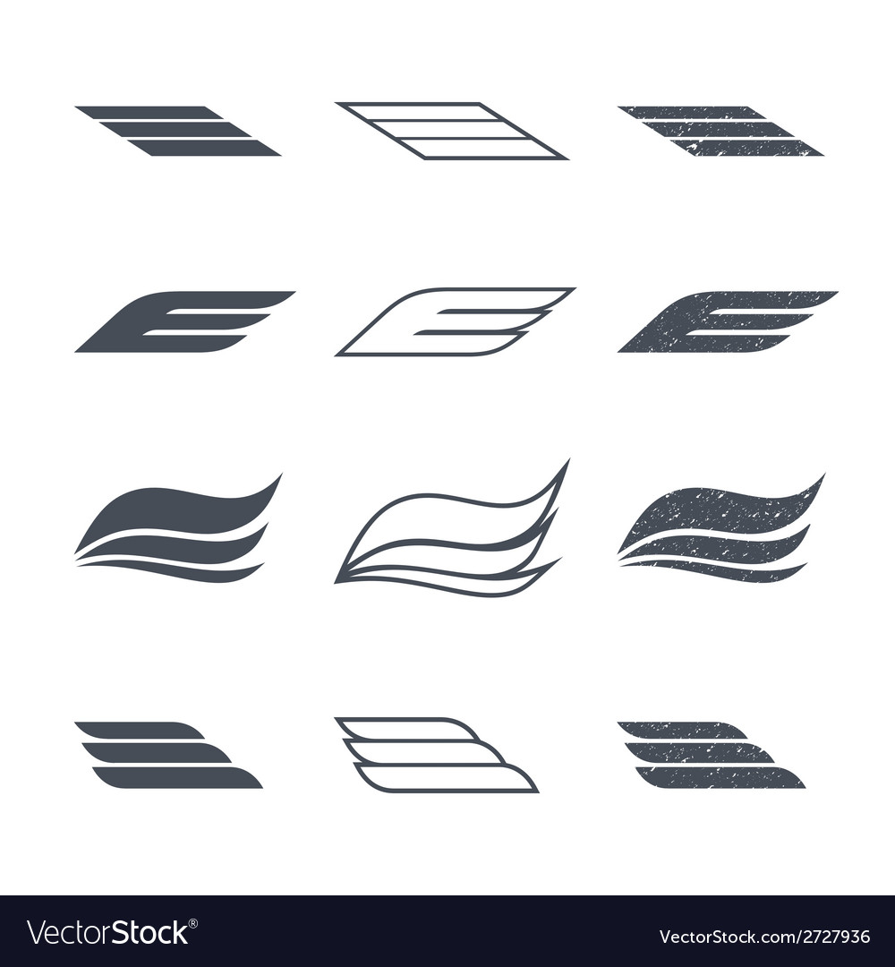Icons wings vector | Price: 1 Credit (USD $1)
