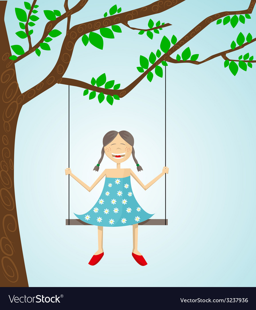 Little girl swinging vector | Price: 1 Credit (USD $1)
