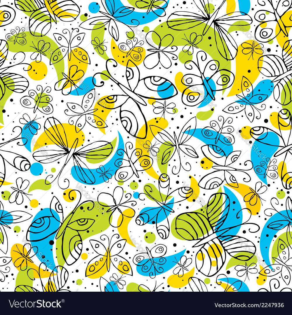 Pattern of hand draw butterflyies vector | Price: 1 Credit (USD $1)