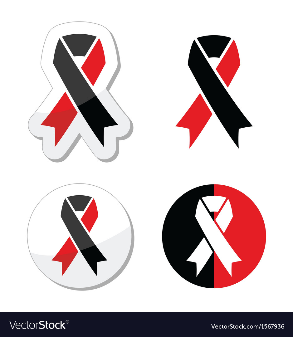 Red and black ribbons set - atheism symbol vector | Price: 1 Credit (USD $1)