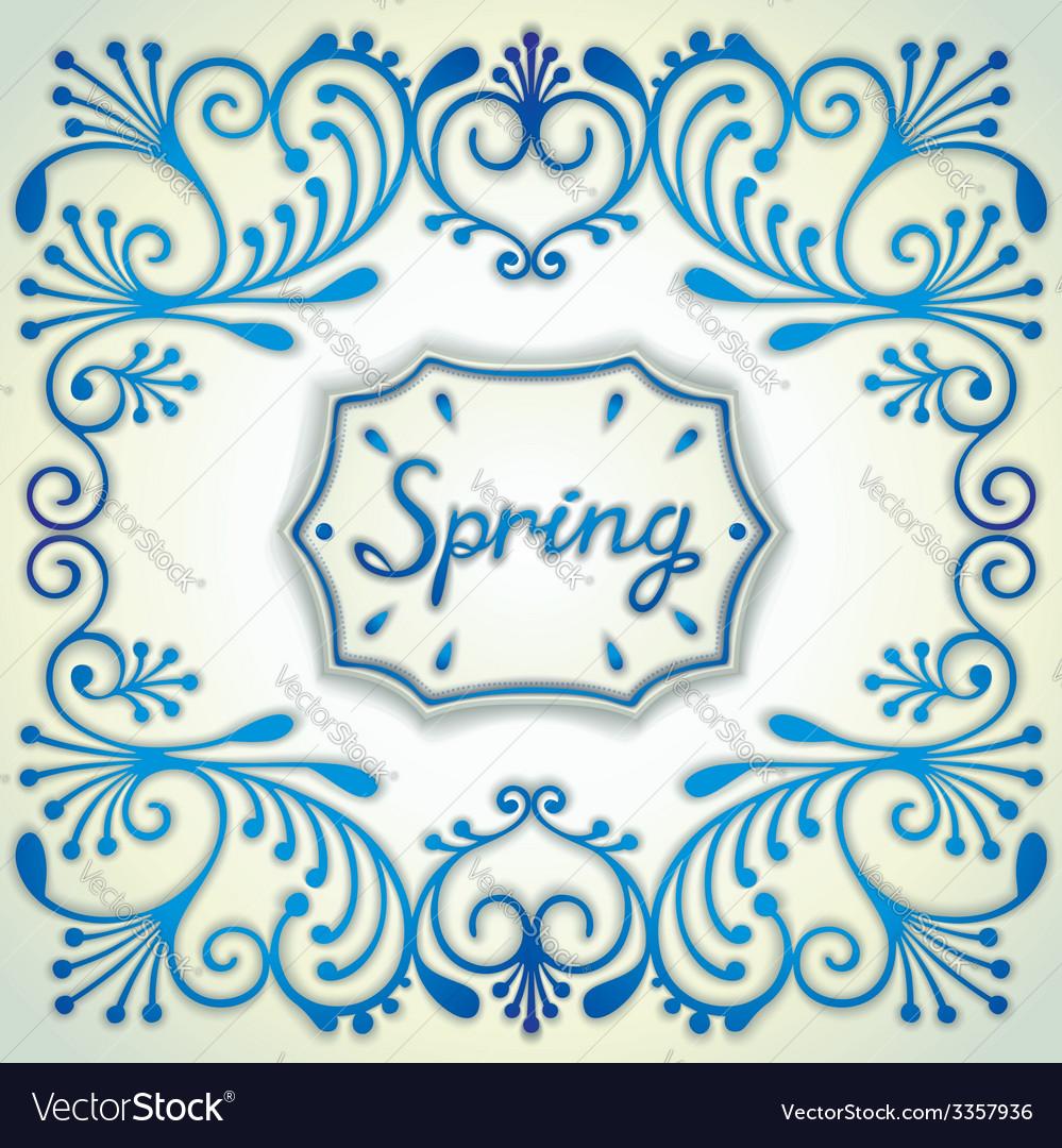 Spring vintage card vector | Price: 1 Credit (USD $1)