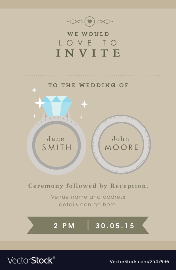 Wedding invitation wedding ring theme vector | Price: 1 Credit (USD $1)