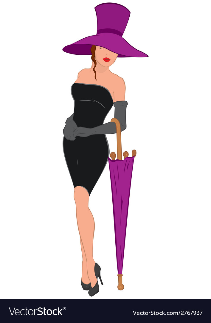Cartoon young woman in mini black dress with vector | Price: 1 Credit (USD $1)