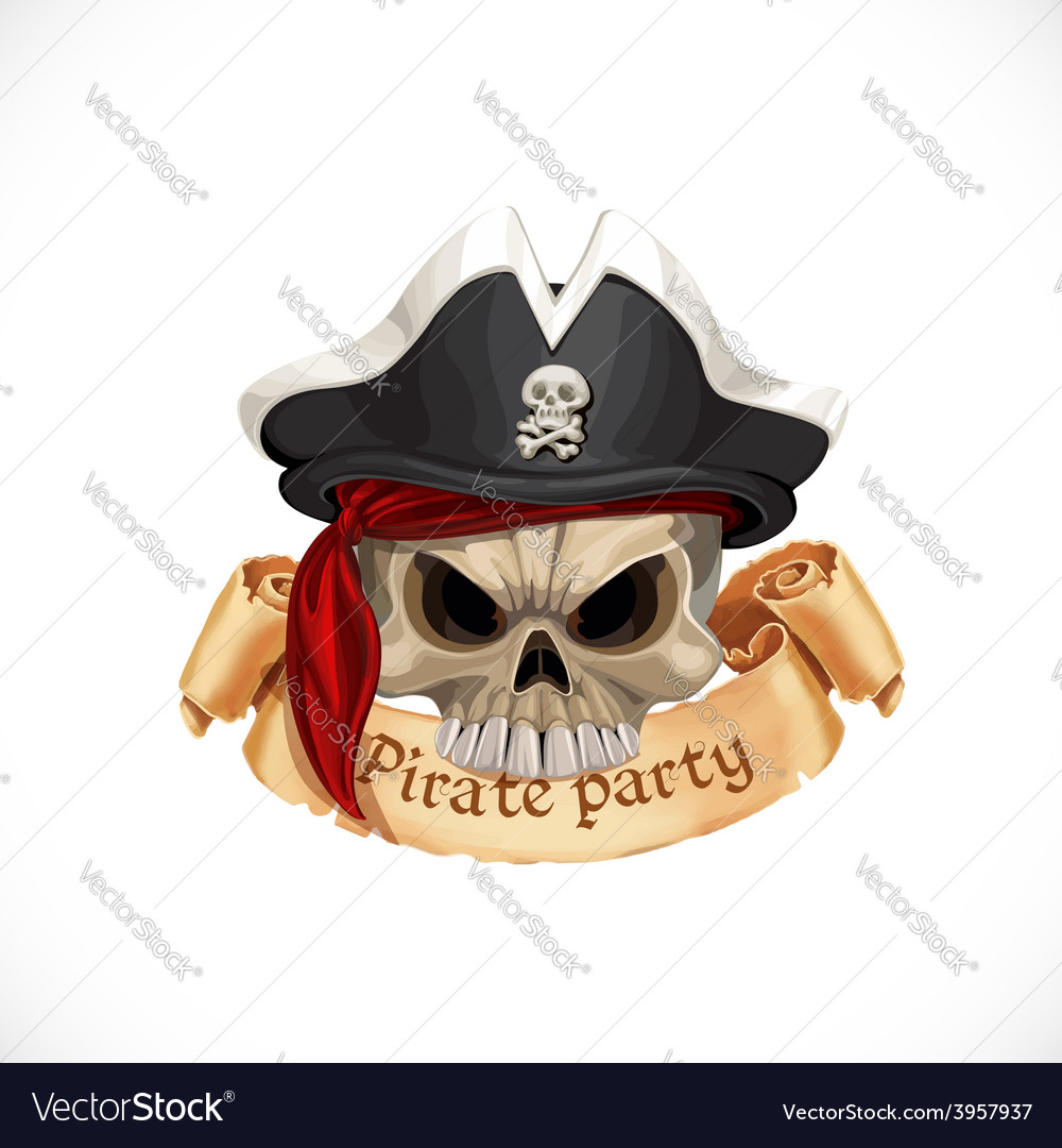 Emblem for pirate party with a skull wearing a hat vector | Price: 3 Credit (USD $3)