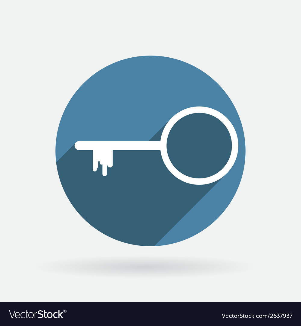 Key symbol icon circle blue icon with shadow vector | Price: 1 Credit (USD $1)