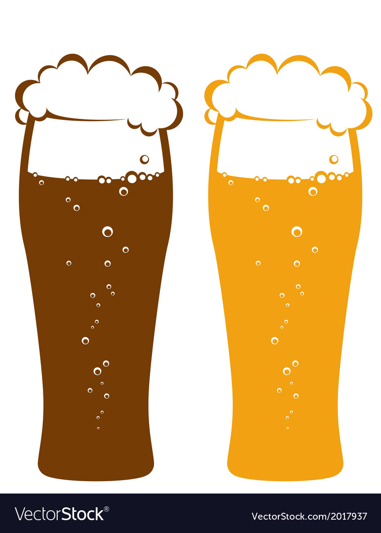 Light and dark beer glasses vector | Price: 1 Credit (USD $1)