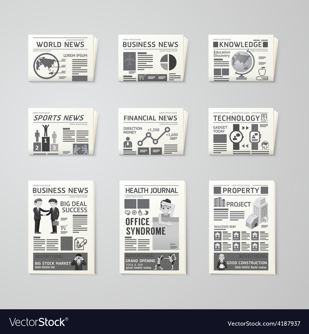 Newspaper daily flat set design template vector | Price: 1 Credit (USD $1)
