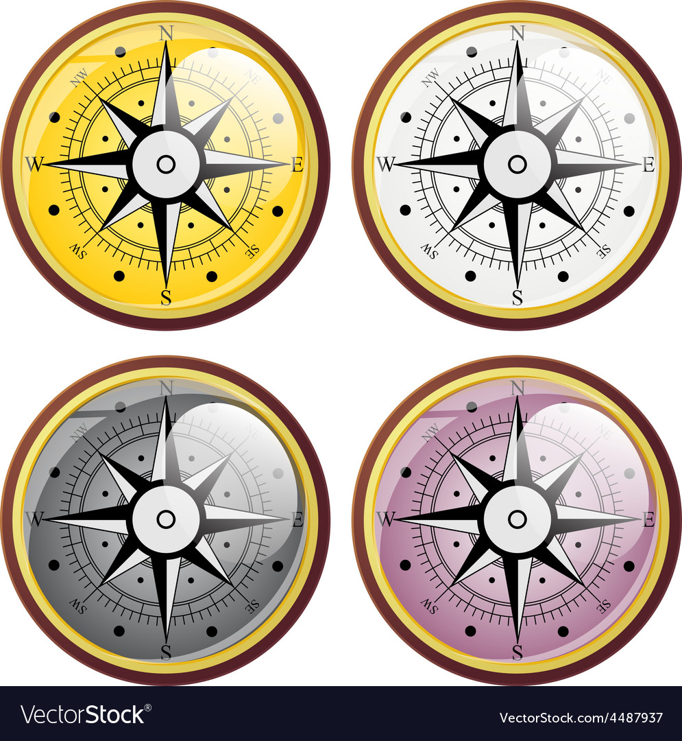 Set wind rose compass flat symbols vector | Price: 1 Credit (USD $1)