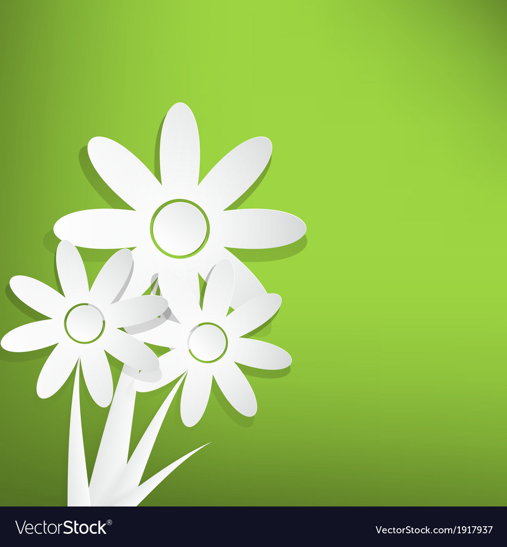 Spring flowers on green background vector | Price: 1 Credit (USD $1)