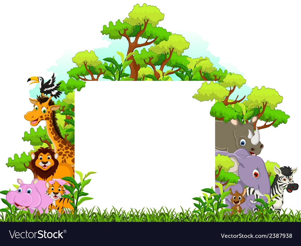 Animal cartoon with blank sign and tropical forest vector | Price: 1 Credit (USD $1)